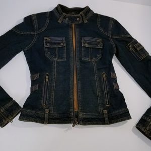 Express Jean Jacket Stretch Distressed Look Small